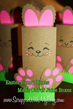 Easter Bunny Boxes Made Out of Juice Boxes #easterbunny #eastercrafts