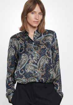 Satin Blouses, Shirt Blouses, Shirts, Paisley, Persona, Outfit, Bell Sleeve Top, Chic, Tops