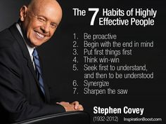 Stephen R Covey - The 7 Habits of Highly Effective People 1. Be proactive 2. Begin with the end in mind 3. Put first things first 4. Think win-win 5. Seek first to understand, and then to be understood 6. Synergize 7. Sharpen the saw
