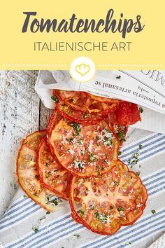 Das Beste, was Italien zu bieten hat, in einem Snack vereint: Tomaten und Parmesan! Diese Chips sind die ideale Alternative zu Kartoffelchips.