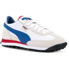 Puma evoKNIT sneakers (989.825 IDR) ❤ liked on Polyvore featuring shoes, sneakers, white leather trainers, white trainers, real leather shoes, white leather shoes and puma trainers
