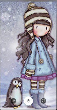 My little penguin friend Little Doll, Little Girls, Cute Images, Cute Pictures, Ideias Diy, Digi Stamps, Whimsical Art, Cute Illustration, Doll Face