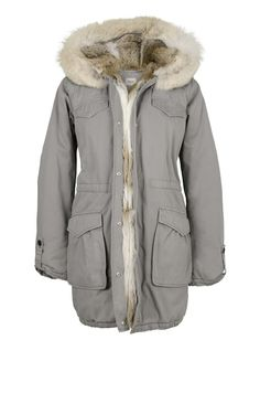 LIGHT GREY PARKA WITH RABBIT FUR AND COYOTE TRIMMING