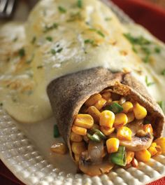 Savory Buckwheat Crepes with Mushrooms, Corn & Fontina Cheese
