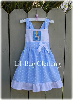 Custom Boutique Clothing Cinderella Jumper Dress Baby Blue & White Polka Dots 12m 18m 2T 3T 4T 5T 6 7 8 9 10 Girl.. $42.00, via Etsy.