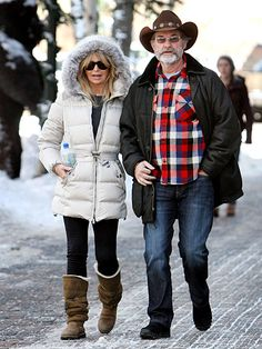 Goldie Hawn and Kurt Russell strolling in Aspen, Colorado. The miracle here is they are still together and look like just some everyday couple you wouldn't even notice
