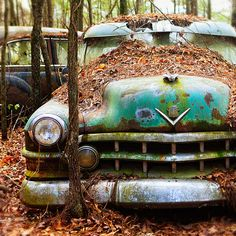 Cool abandoned Caddy for the Man Cave. Photograph.