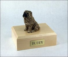 GENUINE North American Hardwood and Shar Pei Sitting Dog Figurine Urn Large -- Read more reviews of the product by visiting the link on the image. (This is an affiliate link and I receive a commission for the sales)