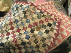Great colors! Vintage quilts made from feed sacks.