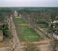 Palace green was intended to focus the eye as well as the mind on the source of executive authority in Virginia and to provide the stately official residence at its head with an unimpeded vista to the heart of the community and beyond. In its progress from the College of William and Mary, Duke of Gloucester Street slips past the foot of the green at Bruton Parish Church and moves on to the Capitol.
