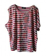 Oversized T-shirt with Asymmetrical Sleeves and in Stripe and Floral Print