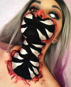 """(@chrmille) on Instagram: """"Halloween Princess 2.0 #sfx #sfxmakeup This sfx look was inspired by @georgia_mai_paint Products…"""" gore special effects sfx makeup teeth body face paint monster spooky Halloween scary contacts costume"""