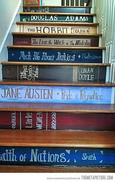 Paint book Titles on stairs.. unique idea thank you @Megan Ward Ward Ward Lee !