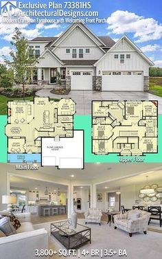 Architectural Designs Exclusive Modern Farmhouse House Plan 73381HS has 4+ beds and 3.5+ baths and 3,800+ square feet of heated living space PLUS optional 1,500+ SqFt Lower Level. Ready when you are. Where do YOU want to build? #73381HS #adhouseplans #architecturaldesigns #houseplan #architecture #newhome #newconstruction #newhouse #homedesign #dreamhome #dreamhouse #homeplan #architecture #architect #houses #Modernfarmhouse #farmhousestyle