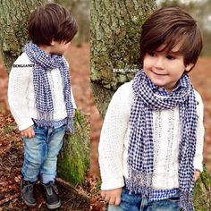 Cute boys outfit for cold days.white sweater,shirt,cute jeans and boots Little Boy Fashion, Kids Fashion Boy, Toddler Fashion, Baby Boy Haircuts, Boy Hairstyles, Cute Boy Outfits, Kids Outfits, Stylish Baby Boy, Surfer