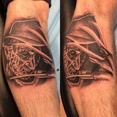 Photo by (tattoo.overdose) on Instagram | #tattoo #freddykrueger #horrortattoo #horrormovies #blackandgreytattoos #inkedmag #instagram #tattoosofinstagram #thedailytattoos #lordsinkcanada #tattooshop #worldfamousink #cheyennetattooequipment #torontotattoos #vaughantattooshop #art Horror Tattoos, Tattoo Equipment, Freddy Krueger, Tattoo Shop, Black And Grey Tattoos, Horror Movies, Ink, Instagram, Horror Films