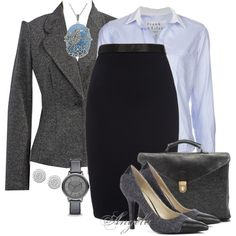 A fashion look from February 2014 featuring Frank & Eileen tops, Calvin Klein blazers and Jen Kao skirts. Browse and shop related looks.