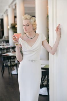Charlotte - Silk crepe cowl neck wedding gown with cap sleeves by Trish Lee Bridal San Francisco.