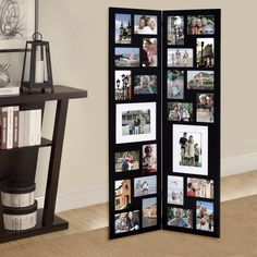 Adeco Decorative Wood Folding Floor-Standing Collage Hinged Picture Photo Frame with 26 Openings