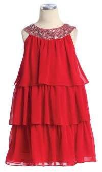 Flower Girl Dress Style 3707- 3 Tier Chiffon Dress with Sequin Neckline
