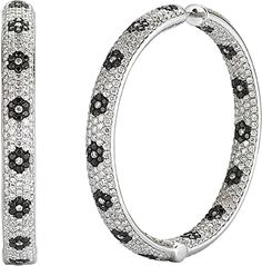 14k White Gold Pave Diamond Hoop Earrings-9.62cts 150-2694