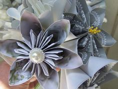 Kusudama Silver Magic Bouquet of 5 Flowers by GracelinePaperStudio, $15.00