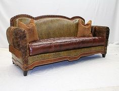 Shop for Old Hickory Tannery Sofa With Pull Buttons, and other Living Room One Cushion Sofas at Hickory Furniture Mart in Hickory, NC. Cowhide Furniture, Rustic Living Room Furniture, Hickory Furniture, Western Furniture, Upholstered Furniture, Living Room Sofa, Dream Furniture, Furniture Ideas, Tufted Sofa