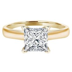 3.0 CT Princess brilliant Cut Simulated Diamond CZ Solitaire Engagement Wedding Ring 14k Yellow Gold, Size 7.25