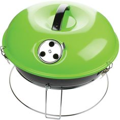 The Green Brentwood 14 in. Portable Charcoal Grill is ideal for bringing the charcoal flavor you love to tailgates, the beach, camping, and more. This heavy-gauge enamel coated grill features Portable Charcoal Bbq, Best Charcoal Grill, Barbecue Grill, Grilling, Best Portable Grill, Portable Table, Table Top Grill, How To Clean Chrome, Grill Accessories