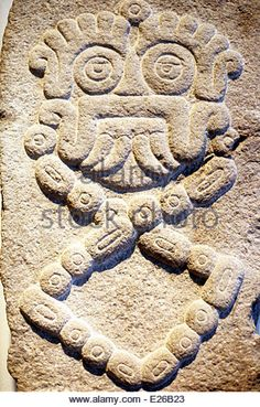 pre-Columbian art,bas-relief,Aztec symbolism,Dahlem Museum,Berlin - Stock Image