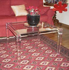 Acrylic furniture - Lucite Acrylic side table - TAVOLINI ANGOLARI IN PLEXIGLASS   Tavolino in plexiglass 01.mod. LV1   Tavolo plexiglas cm.70 x70 h.45 - telaio sp.mm.40 - gambe sez.mm.50 #lucite #design #homedecor #acrylic
