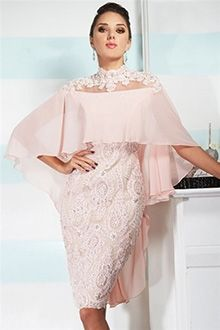 Sheath/Column High Neck Knee-length Chiffon Lace Mother of the Bride Dress