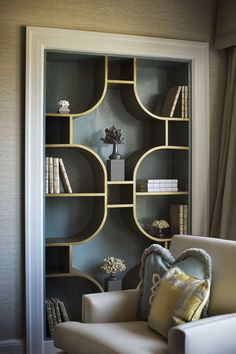 Art deco living room - 2017 Bookcases Ideas 126 Bookcases Ideas design ideas and photos – Art deco living room Decoration Design, Deco Design, Design Art, Modern Design, Creative Bookshelves, Bookshelf Ideas, Bookshelf Design, Bookshelf Decorating, Simple Bookshelf
