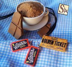 SelerkalArt: Conjunto Chocolate Wonka. Pendientes con la tableta y colgante con el premio gordo para visitar la fábrica. Arcilla polimérica y transfer, con detalles pintados a mano.