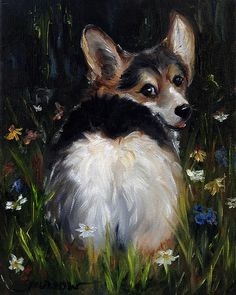 Tri Color Corgi Art by Mary Sparrow of Hanging the Moon