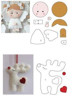 Felt Animal Patterns, Felt Crafts Patterns, Fabric Crafts, Doll Patterns, Felt Christmas Decorations, Felt Christmas Ornaments, Christmas Art, Diy Ornaments, Beaded Ornaments