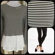 """Striped Long Sleeve Top Cute top. Black and white striped ribbed on the top with white on the bottom. Soft and light weight. Material 95% Rayon 5% Spandex. Measures approximately 25"""" long. Sleeves 18.5"""". Size Small. Lying flat measures 17"""" across bust, not doubled. New with tags. This top gives the illusion that you are wearing two tops. Will stretch if needed. Lime & Chili Tops"""