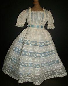 antique blue doll dress   Lovely Antique White w Blue Fashion Doll Dress