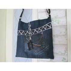 Jeanstasche Handtasche Beuteltasche Zacken