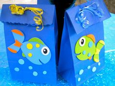 fish party favor bags serve double duty - use them as gift bags for your fish party favors and as your table decorations. First Birthday Parties, Happy Birthday, First Birthdays, Birthday Ideas, Party Favor Bags, Gift Bags, Goody Bags, Favor Boxes, Treat Bags