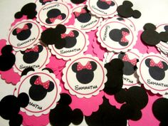 100 Combo Minis Sprinkles Minnie Personalized Name And Hot Pink/Black Shapes Confetti Birthday Party Decoration Favor Cupcake Topper Mouse via Etsy