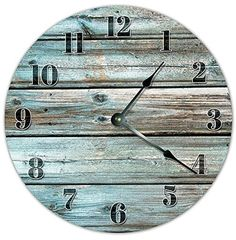 OliveLewis Vintage Teal Wood Boards Design Clock Wooden Decorative Round Wall Clock The Rustic Clock