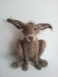 Cute hare, needle-felted from wool. Thron crown.  Red appliqué heart. Burlap jumper wooden cross tomb #feltanimals