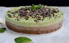 This raw cacao and mint cheesecake is super delicious and has a wonderful, smooth texture just like traditional cheesecake, but it's dairy-free!