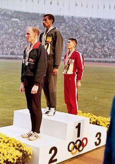 Abebe Bikila - 1960 & '64 Olympic marathon champion on victory dais Toyko with Basil Heatly ( GB) 2nd & Kokichi Tsuburaya ( Japan ) 3rd