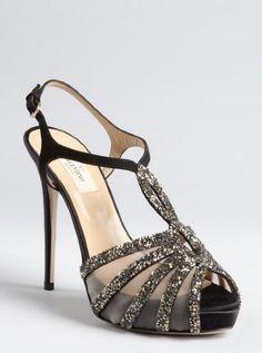 Valentino:  black suede and satin embellished strappy platform sandals
