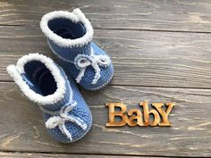Blue Crochet baby boots Knitted baby booties Baby handmade