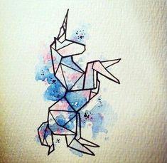 Geometric Drawing, Geometric Art, Geometric Tattoo Unicorn, Origami Unicorn Tattoo, Art Inspo, Art Du Croquis, Art Mignon, Ouvrages D'art, Art Design