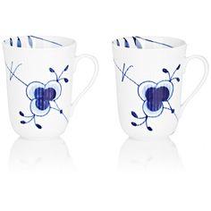 Royal Copenhagen Blue Fluted Mega Porcelain Mug Set ($125) ❤ liked on Polyvore featuring home, kitchen & dining, drinkware, no color, royal copenhagen, blue mug, handmade mugs, porcelain mug set and blue drinkware