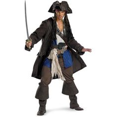 Captain Jack Sparrow Prestige Adult Halloween Costume, Size: XL, Black
